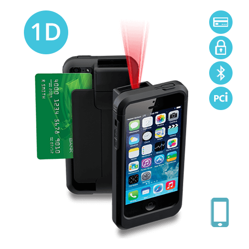 LP5-S-BT-PH5 Linea Pro 5 1D iPhone 5/5s barcode scanner with Bluetooth encrypted magstripe reader and PCI compliance
