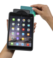 Demonstration of credit card swiped through magnetic card reader - Infinea Tab M for iPad mini