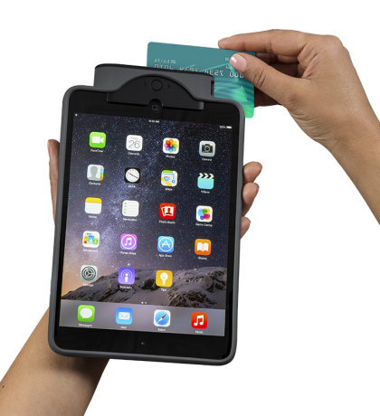 demonstration of credit card swiped through magnetic card reader infinea tab m for ipad mini - Credit Card Swiper For Ipad