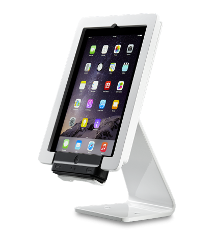 ST-SEC-WH white security stand for Infinea Tab 4 barcode scanner with vertical scanner three-quarters view