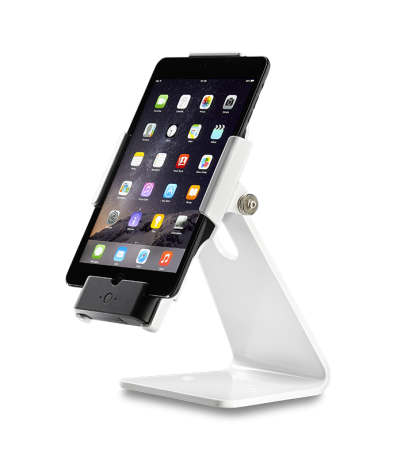 Secure iPad Stand for Infinea Tab M barcode scanner for iPad mini white colour including device vertical - ST-SEC-M-W