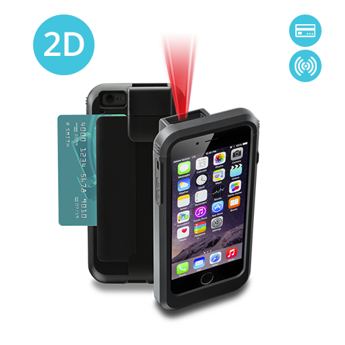 LP6-I2DR-PH6 Linea Pro 6 2D iPhone 6 barcode scanner with RFID and magstripe reader