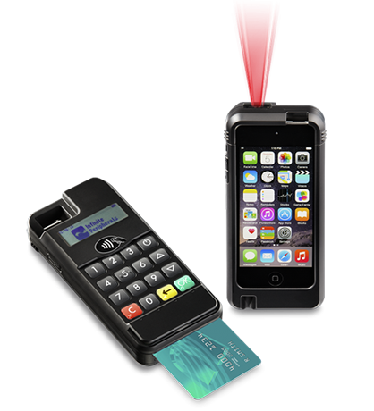Infinea mPOS for iPod Touch 5 and 6 2D Barcode Scanner with NFC black with card and laser beam - BP500-N2DF-POD5