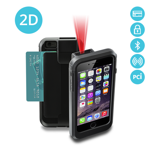 LP6-S-I2DBTR-PH6 Linea Pro 6 2D iPhone 6 barcode scanner with RFID Bluetooth magstripe reader and PCI compliance
